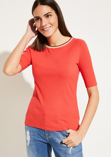 Jersey top in a ribbed look from comma