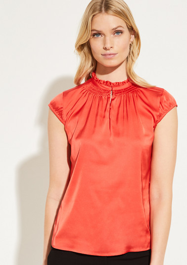 Satin blouse with decorative fringing from comma
