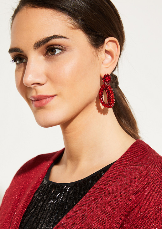 Round stud earrings with hoops embellished with gemstones from comma