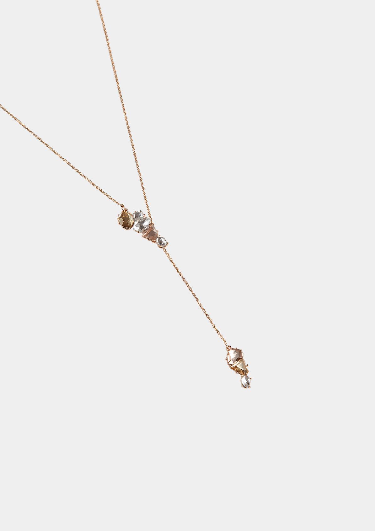 Lange Halskette mit Schmucksteinanhänger