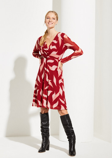 Mesh dress with a decorative all-over pattern from comma