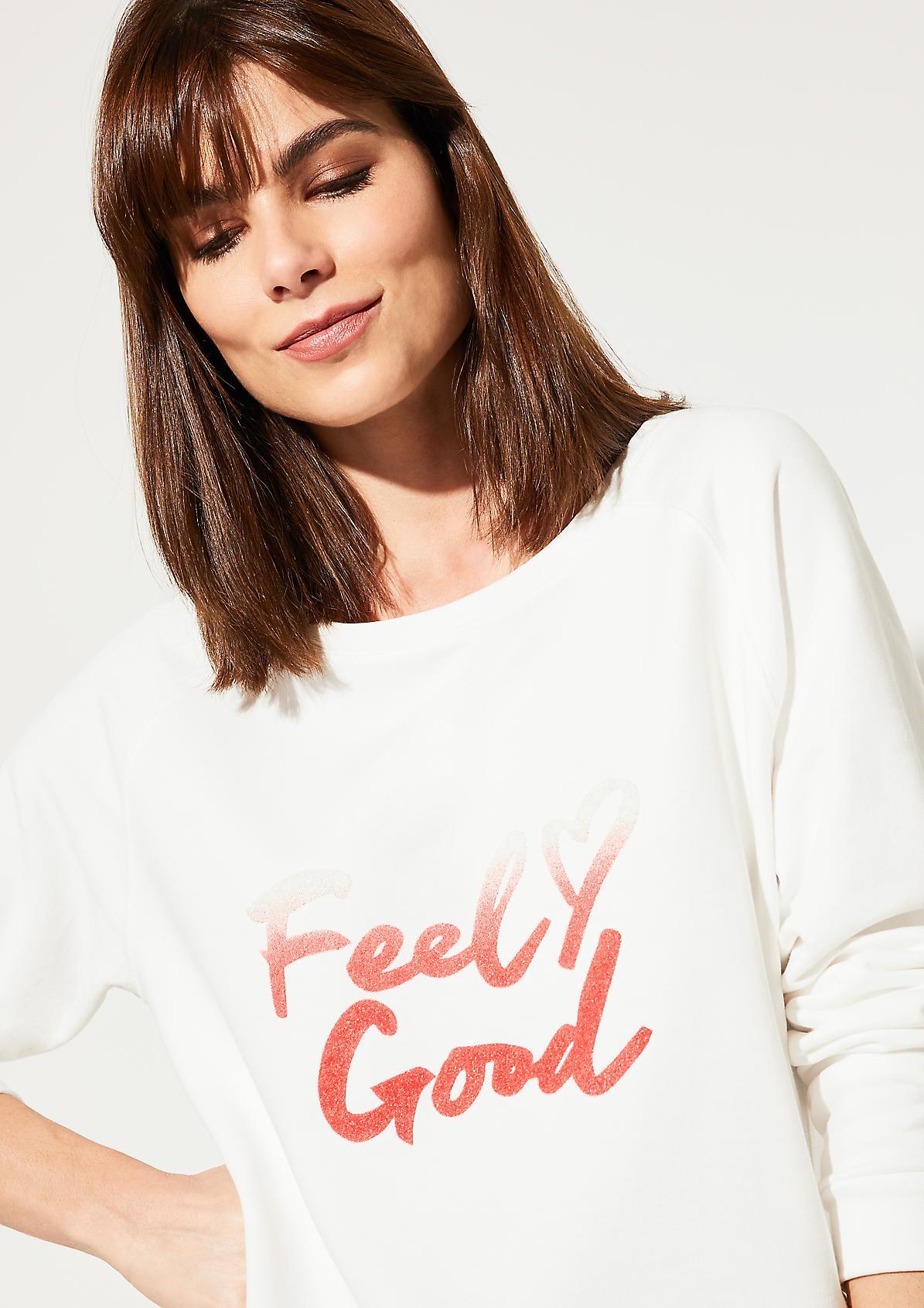 Langarmsweater mit aufwendigem Statement-Print