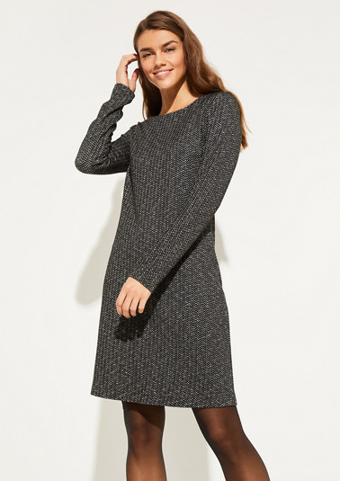 Knitted dress with a herringbone pattern from comma