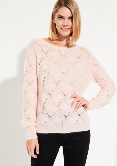 knitted jumper with an exciting open-work pattern from comma