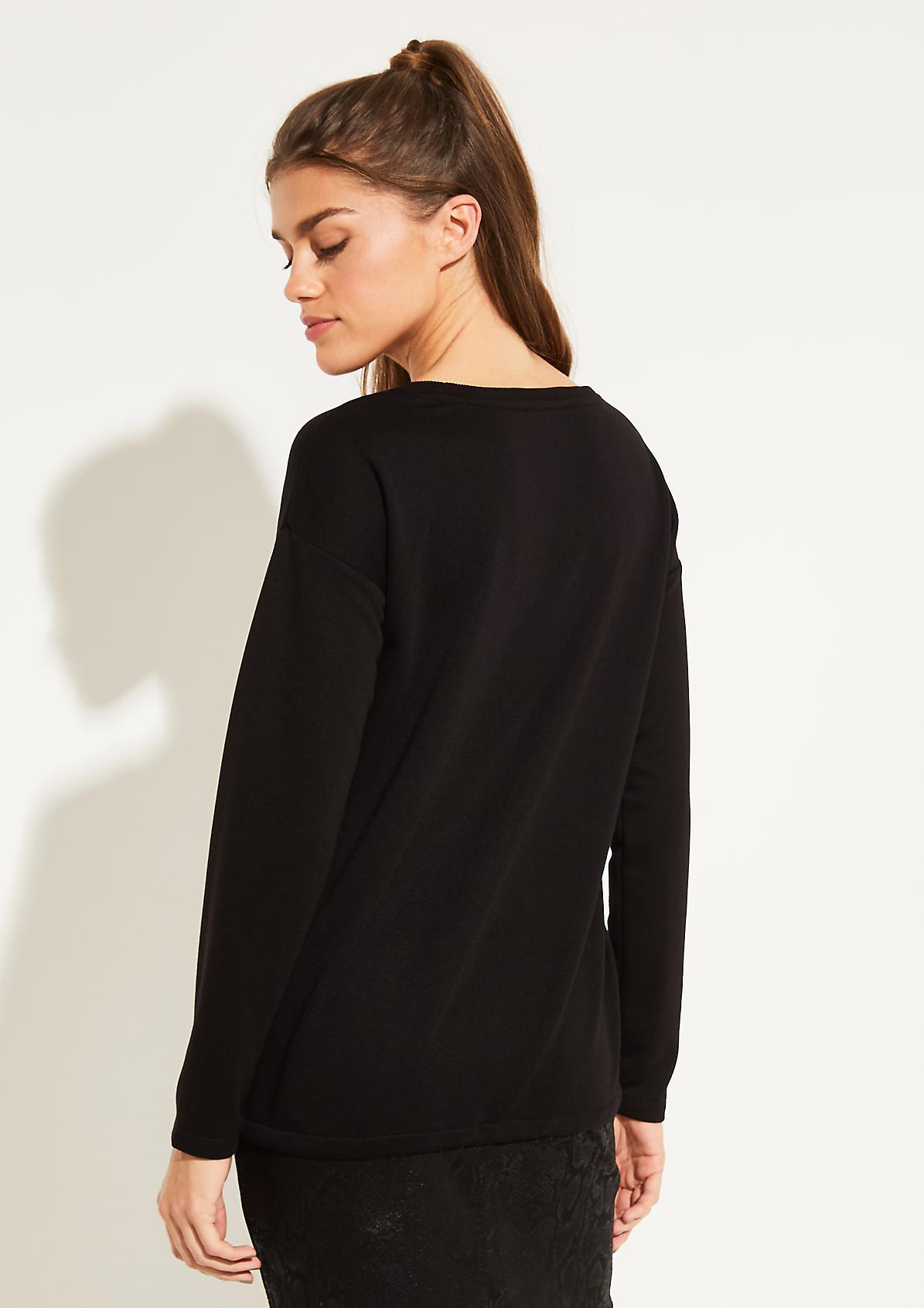 Langarmsweater mit paillettenverziertem Statement