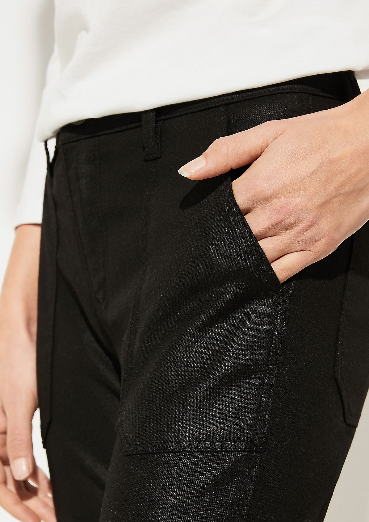 Skinny Fit: Stretchjeans mit Coating