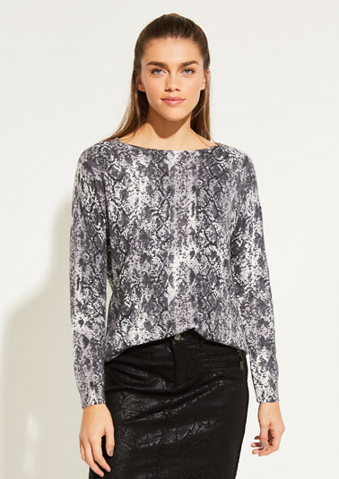 Fine knit jumper with an abstract all-over print from comma