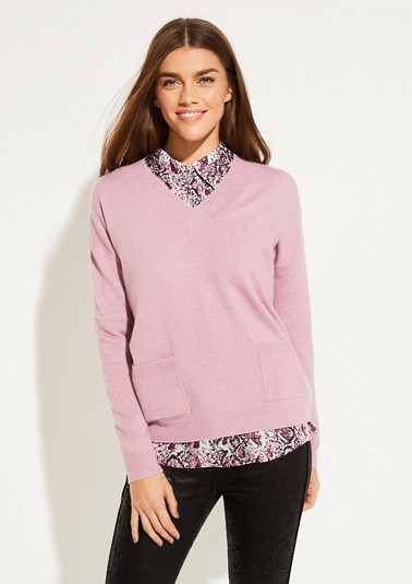 Fine knit jumper with patch pockets from comma
