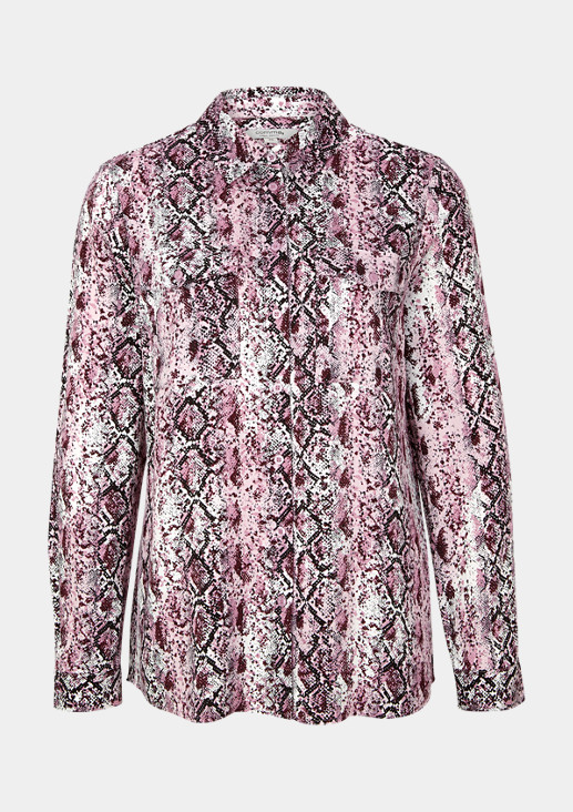 Satin blouse with a decorative snakeskin print from comma