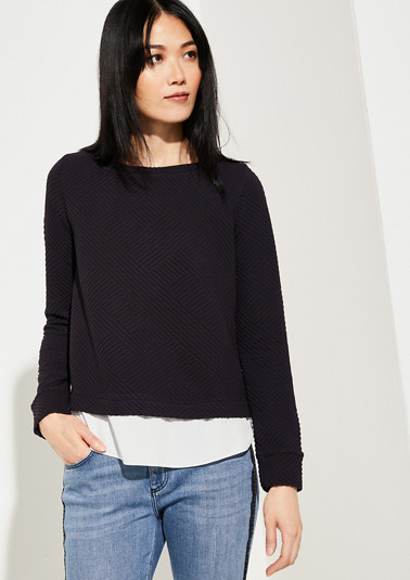Layered T-shirt with a textured pattern from comma