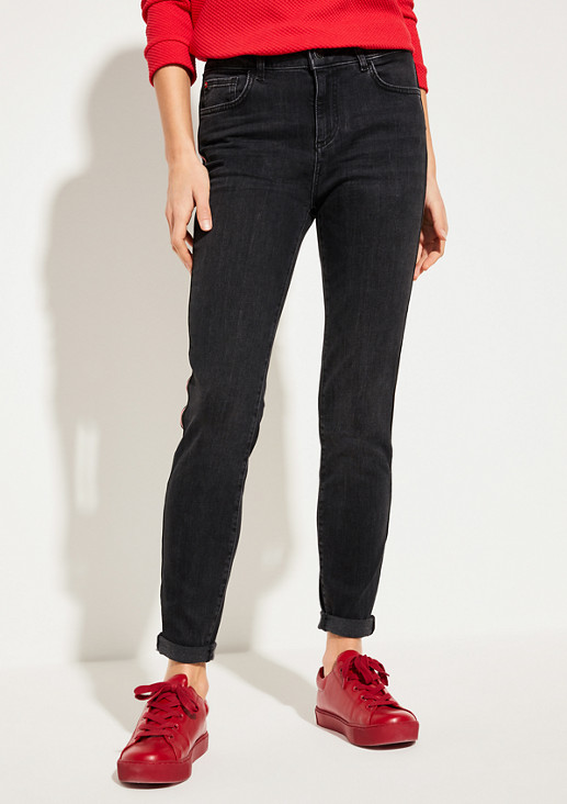 Skinny Fit: Skinny leg-Denim mit Tape