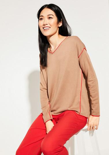 Pullover mit Kontrast-Paspelierung