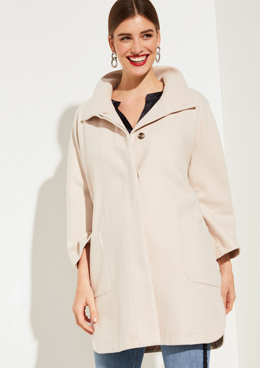 Coat in an O-shaped design with a stand-up collar from comma