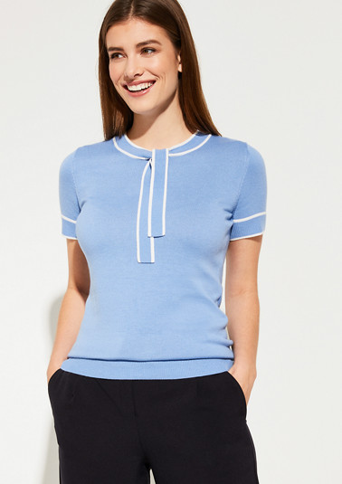 Short sleeve jumper with a tie-up bow from comma