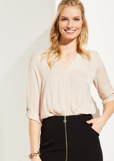 Satin blouse with 3/4-length sleeves from comma