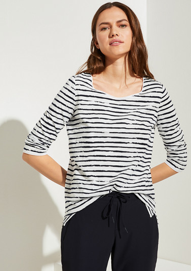 Striped top with 3/4-length sleeves from comma