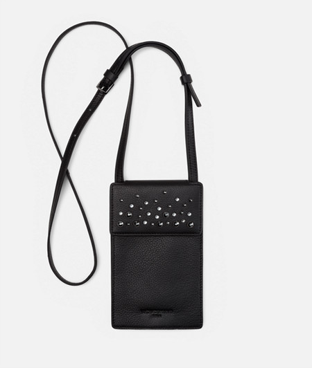 Smartphone neck pouch embellished with Swarovski® crystals from liebeskind