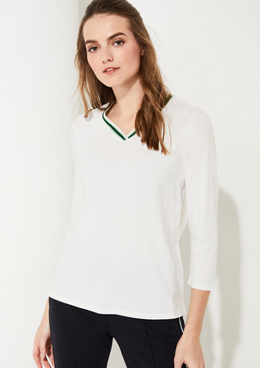 Shirt with neckline with ribbed trim from comma