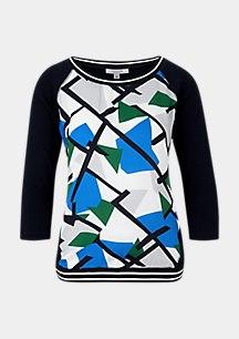 Fabric-Mix-Shirt mit Ripp-Details