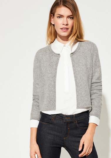 Fine knit cardigan with sophisticated details from comma