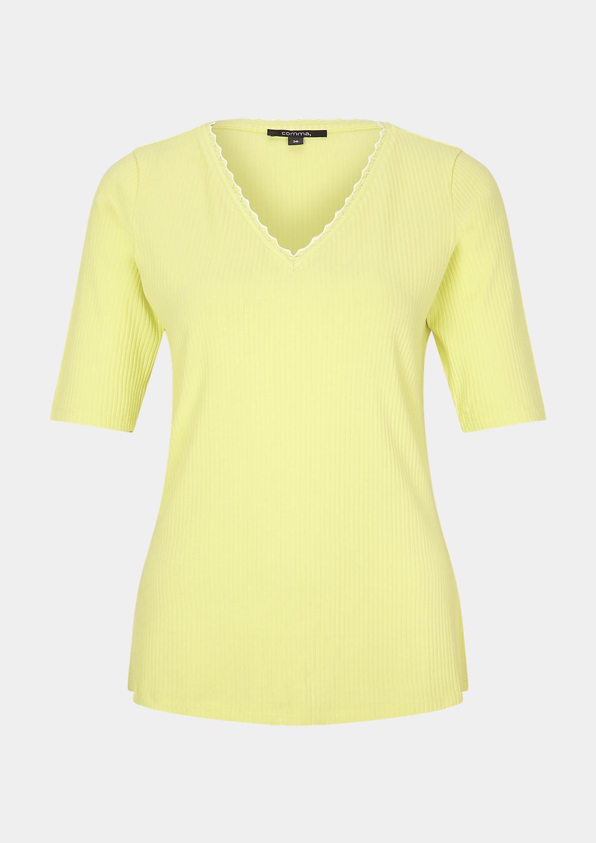 T-Shirt mit Rippstruktur