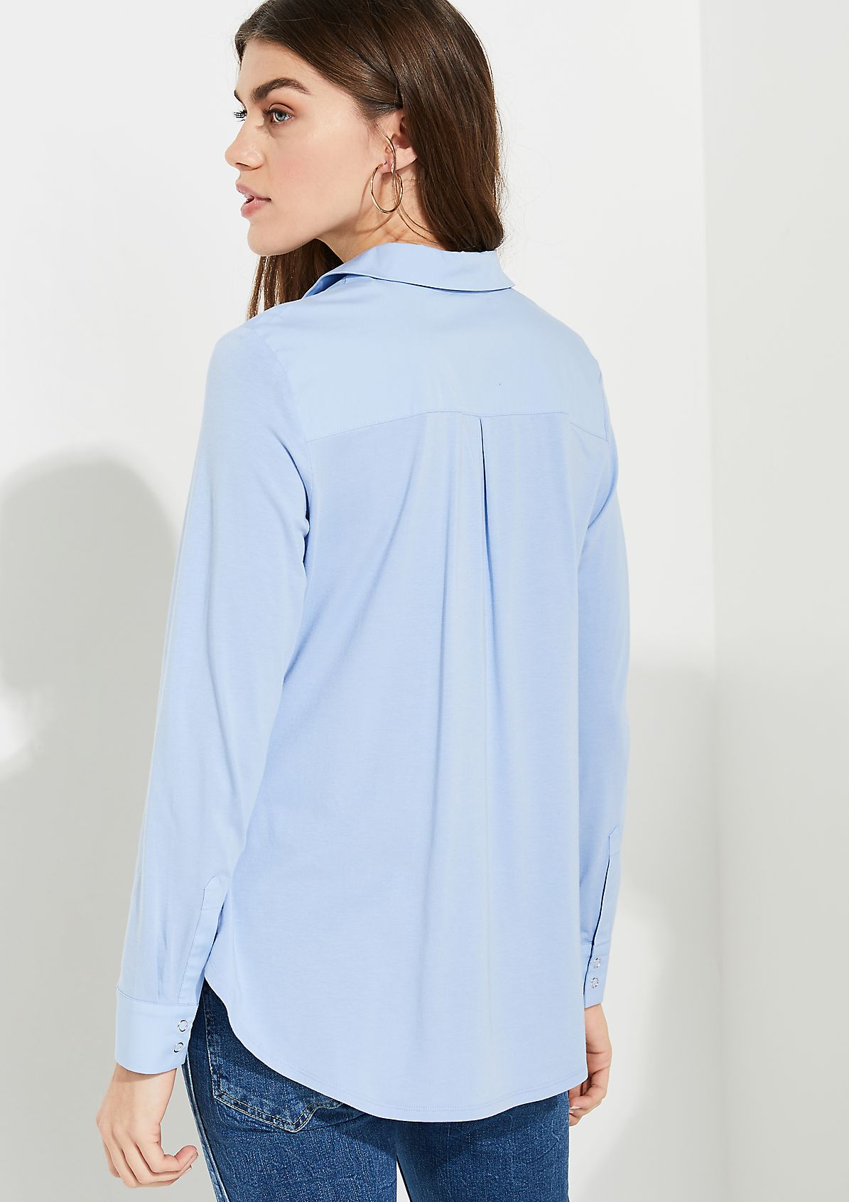 Shirt blouse with jersey details from comma