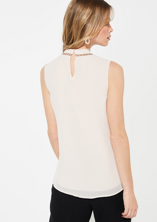 High-neck blouse top with metal details from comma