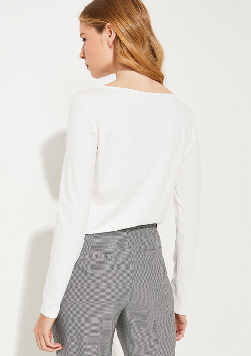 Materialmix-Shirt mit Satin-Front