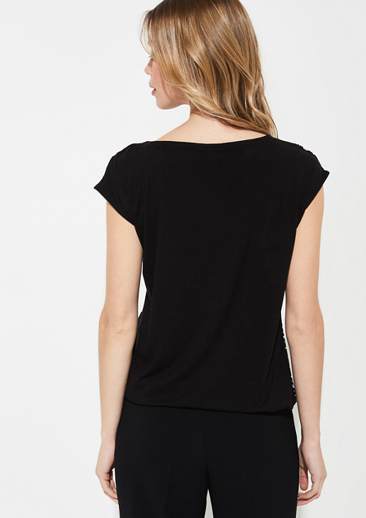 Material mix T-shirt with a satin front from comma