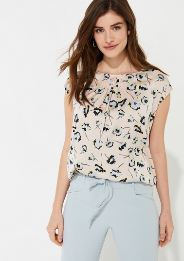 Materialmix-Shirt mit Satin-Front