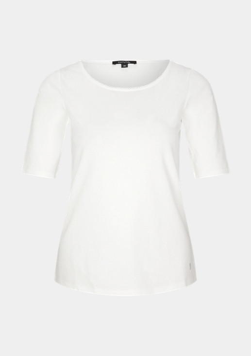 comma MIT GLITZERNDEN- T-Shirt print white