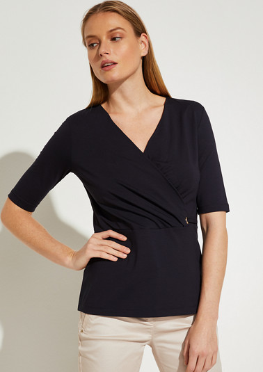 V-neck t-shirt with a wrap look from comma