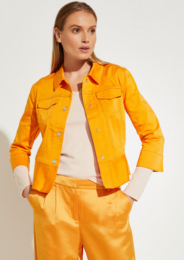 Satin jacket with a flounce trim from comma