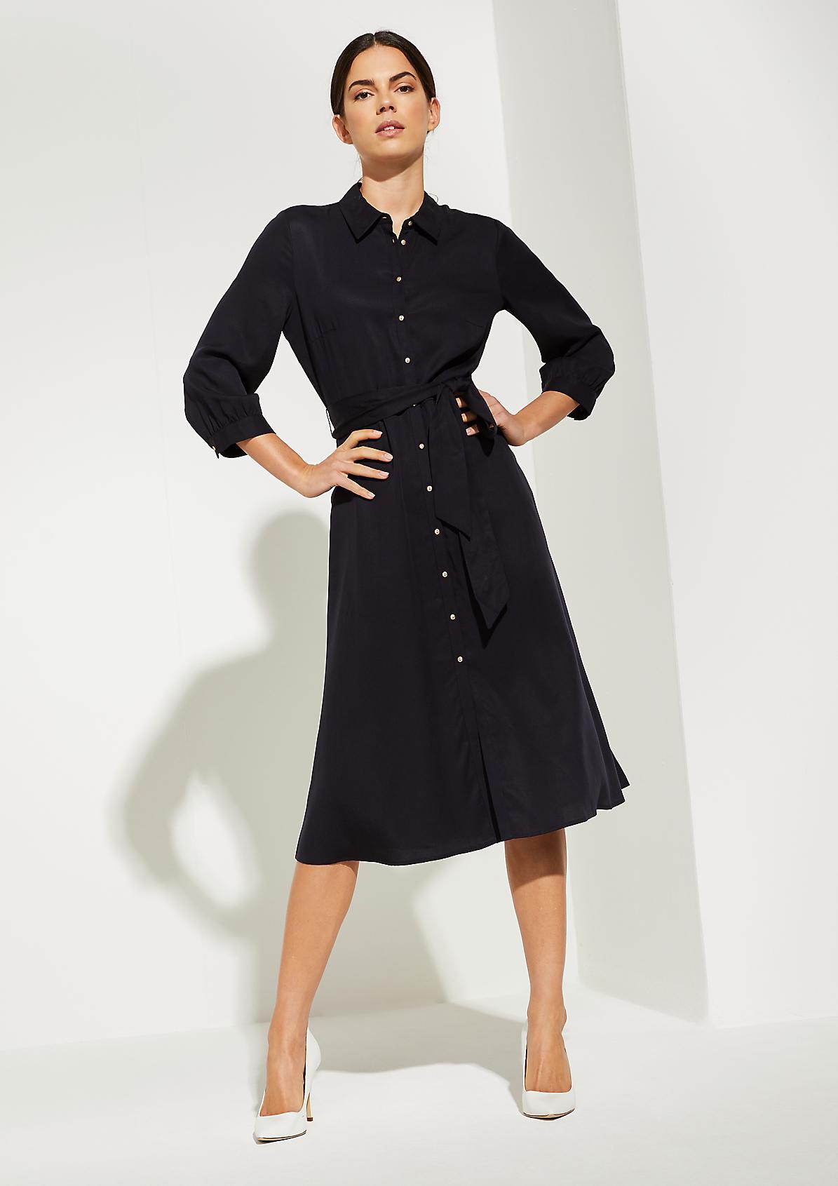 Lyocell-Kleid mit Hemdkragen