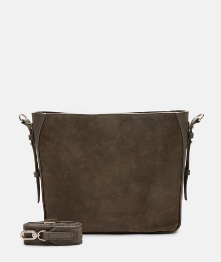elegante Umhängetasche aus Glatt- und Wildleder