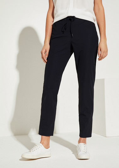 Regular Fit: trousers with drawstring ties from comma