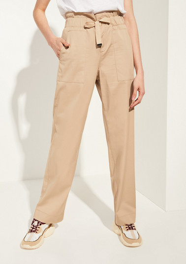 High-waisted satin trousers from comma