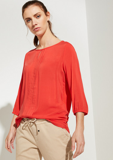 Pleated blouse with a jersey back section from comma