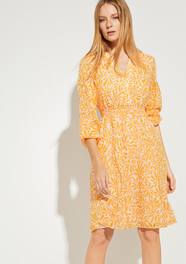 Chiffon dress with smocked details from comma