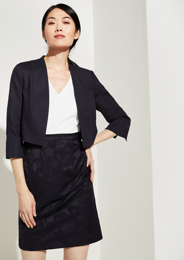 Short blazer made of cotton satin from comma