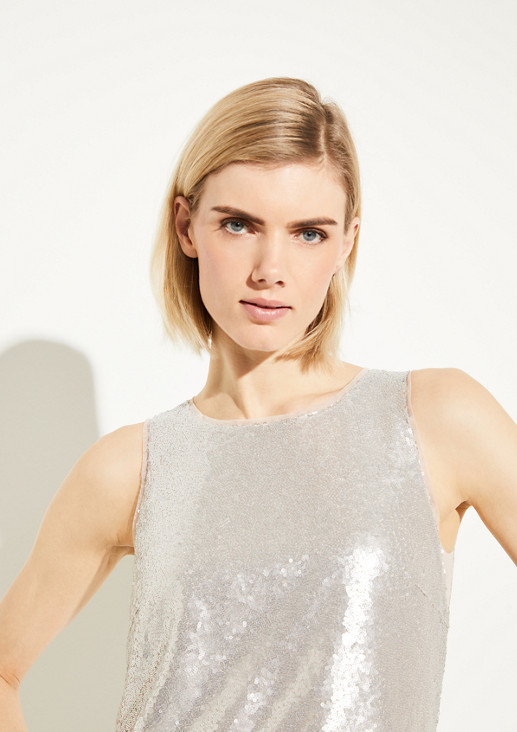 Cropped style sequin blouse from comma