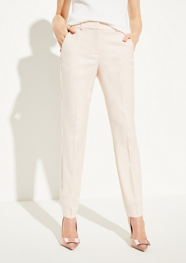 Regular Fit: woven trousers with satin piping from comma