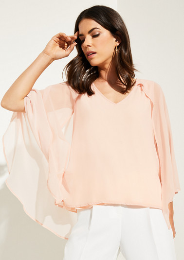 Blouse top with a chiffon cape from comma