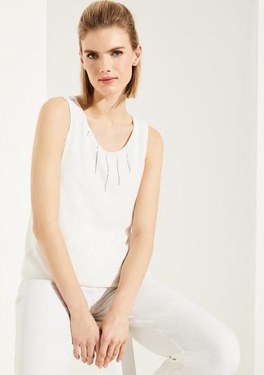 Fabric-Mix-Shirt mit Swarovski® Kristallen