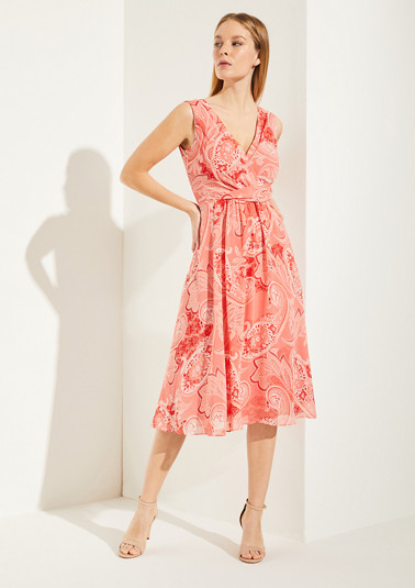 Cache-Coeur-Kleid mit Paisley-Muster