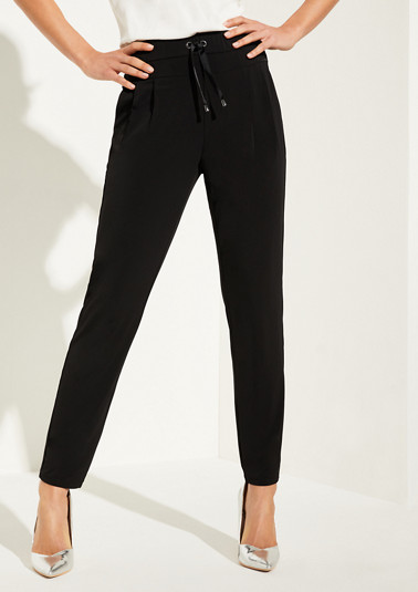 Regular Fit: tapered leg jersey trousers from comma
