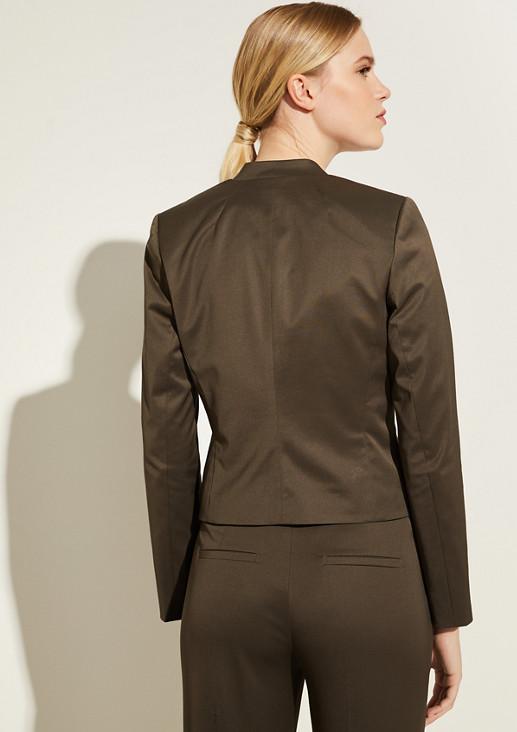 Piqué-Blazer mit Bogenkante