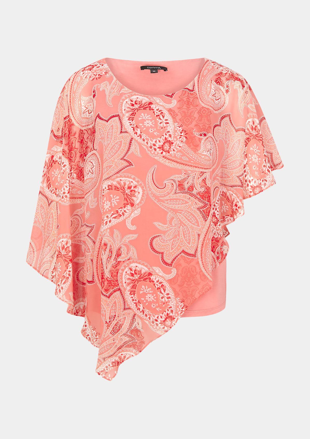 Asymmetrische Cape-Bluse aus Chiffon