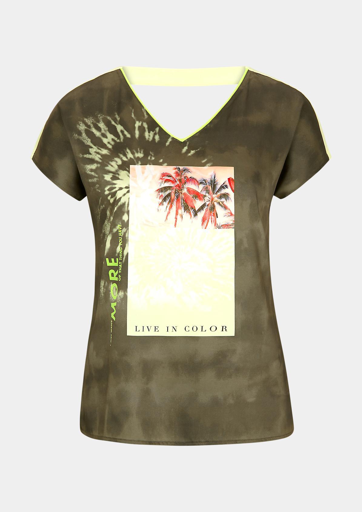 Fabric-Mix-Shirt mit Neon-Blende