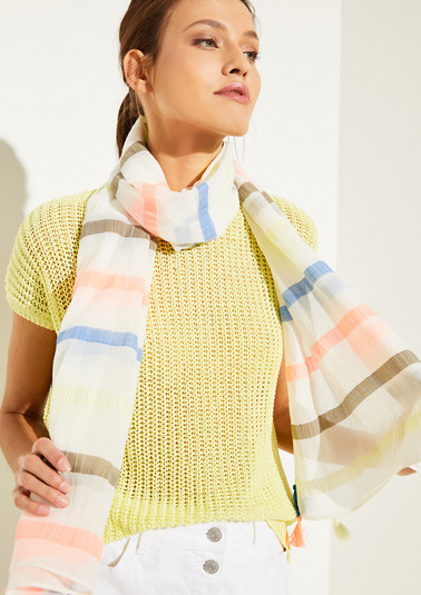 Striped scarf with decorative tassels from comma